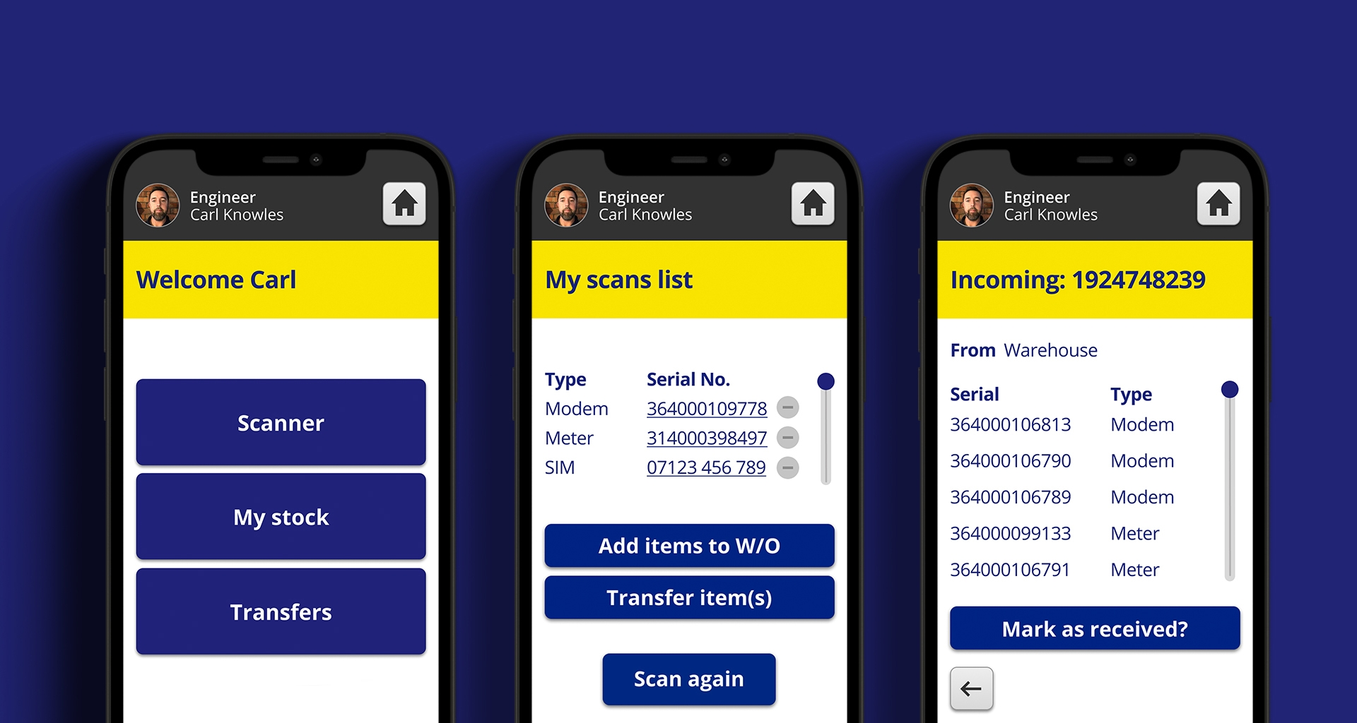 Digital Stock control Progressive Web App shown on smart phone screens